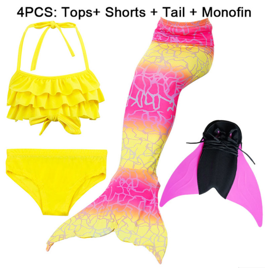 Girls Best Kids Mermaid Tail Swimwear Bikini for Swimming I with Fins Monofin Flipper for Girls