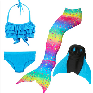 Girls Best Kids Mermaid Tail Swimwear Bikini for Swimming B with Fins Monofin Flipper for Girls