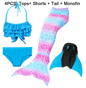 Girls Best Kids Mermaid Tail Swimwear Bikini for Swimming C with Fins Monofin Flipper for Girls