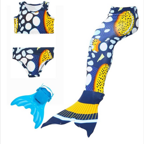 Cheap Mermaid Swim Tail for Girls Swimmable Swimwear Bikini B with Fins Monofin Flipper