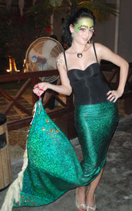 Ariel Green Mermaid Tail with Black Tops Arile Tail Cosplay Costume