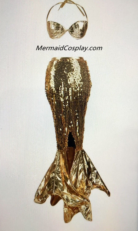 Custom Golden Sexy Sequins Mermaid Skirt Gold Bra for Women