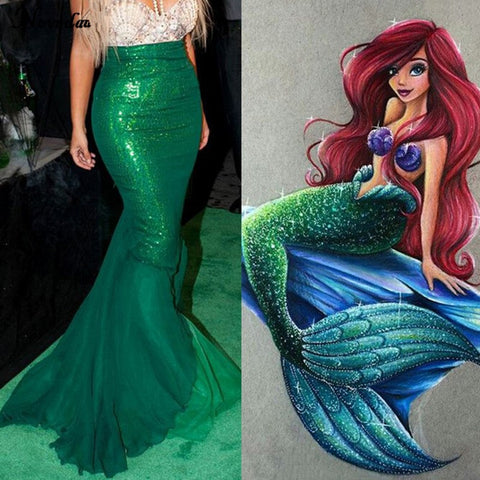 Mermaid Tail Costume Long Green Skirt Tail Only