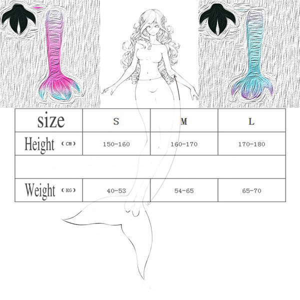 A Perfect combination of Bright and Dark Swimmable Mermaid Tails for Adults Women with Monofin