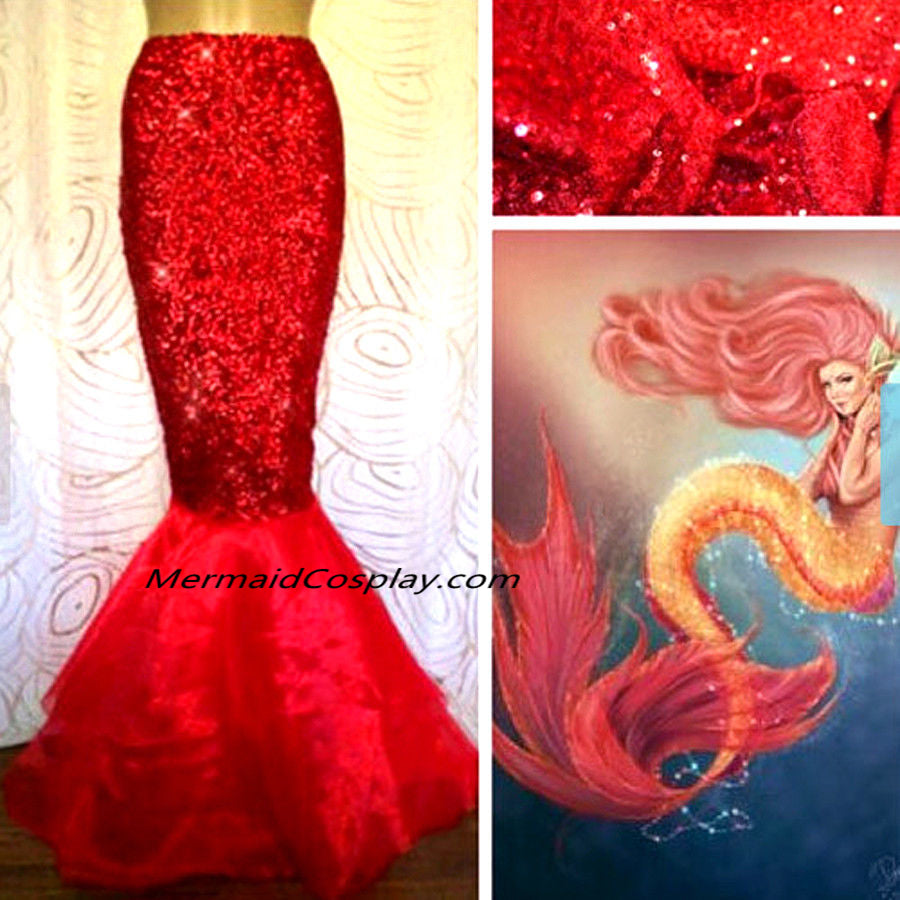 Sexy Long Red Mermaid Style Skirt for Women