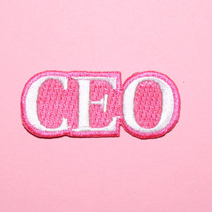 CEO Patch | Pink Embroidered Iron-On Patch