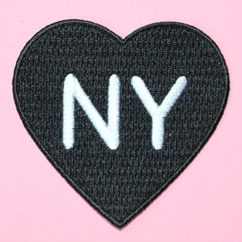 NYC HEART PATCH | New York Black Heart Embroidered Patch
