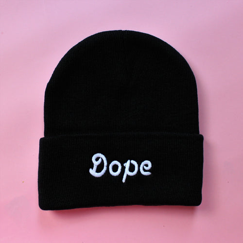 Black Knit Dope Beanie | Embroidered Dope Beanie