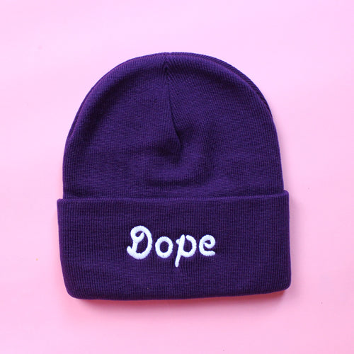 Purple Knit Dope Beanie | Embroidered Dope Beanie