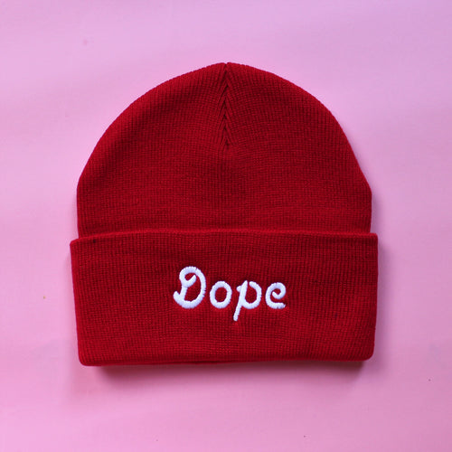 Red Knit Dope Beanie | Embroidered Dope Beanie