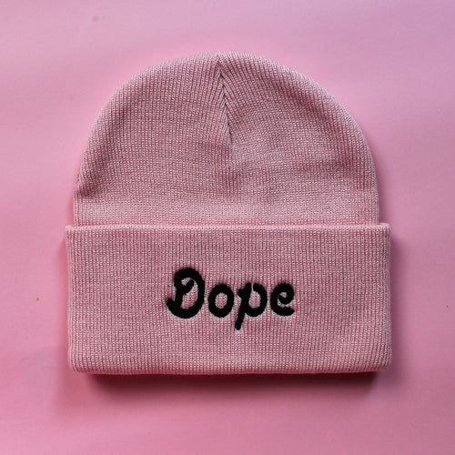 Pink Knit Dope Beanie | Embroidered Dope Beanie