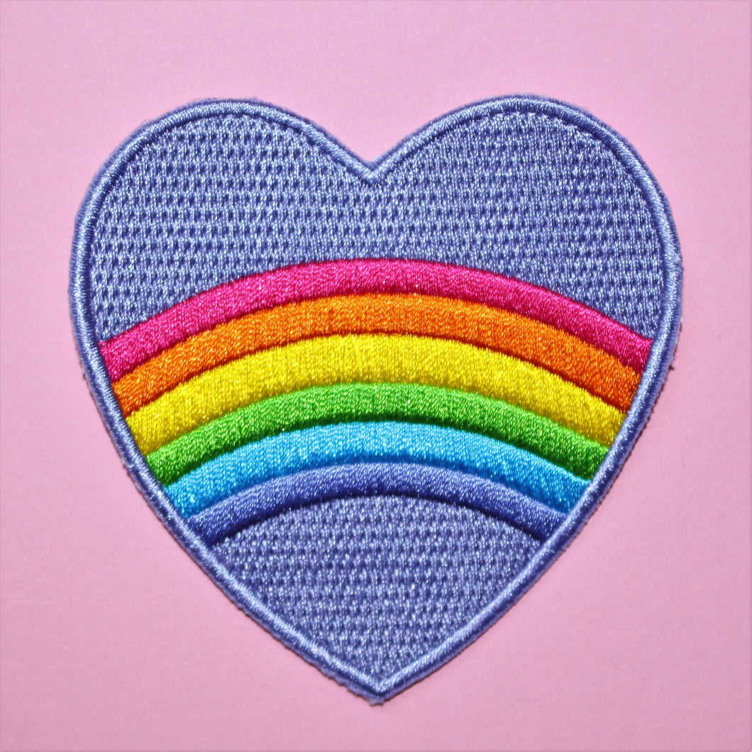 SECONDS Rainbow Heart Patch | Rainbow Striped Embroidered Patch