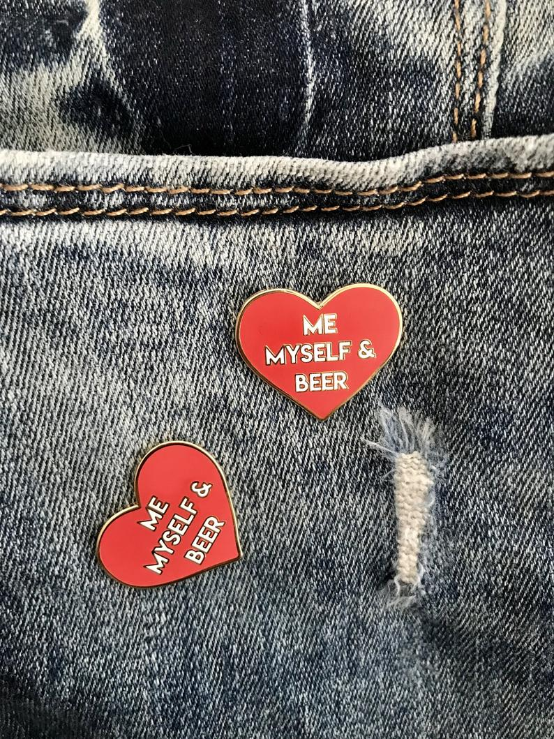 Red Heart Hard Enamel Lapel Pin | Me, Myself and Beer Enamel Pin