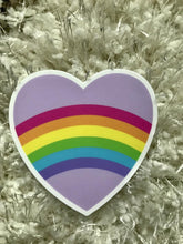 Load image into Gallery viewer, Rainbow Heart Sticker | Purple and Rainbow Striped