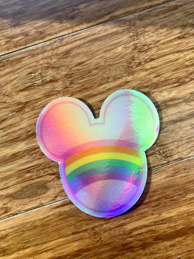 Holographic Rainbow Mouse Sticker