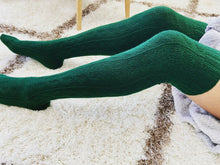 Load image into Gallery viewer, Green Thigh High Cable Knit Socks | Forest Green Color Thigh High Socks