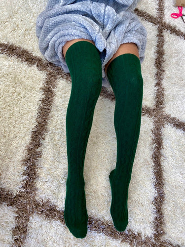 Green Thigh High Cable Knit Socks | Forest Green Color Thigh High Socks