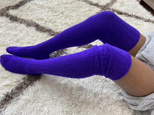 Extra Long Thigh High Cable Knit Sweater Socks, Women's Purple Over The Knee Boot Socks