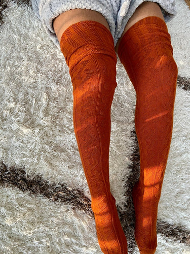 Extra Long Thigh High Cable Knit Sweater Socks, Women's Burnt Orange Over The Knee Boot Socks