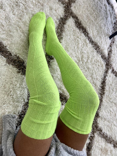 Extra Long Thigh High Cable Knit Sweater Socks, Women's Lime Green Over The Knee Boot Socks