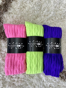 Extra Long Thigh High Cable Knit Sweater Socks, Women's Hot Neon Pink Over The Knee Boot Socks