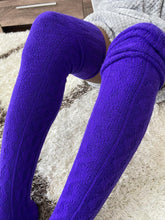 Load image into Gallery viewer, Extra Long Thigh High Cable Knit Sweater Socks, Women's Purple Over The Knee Boot Socks