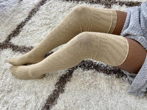 Extra Long Thigh High Cable Knit Sweater Socks, Women's Beige Khaki Over The Knee Boot Socks