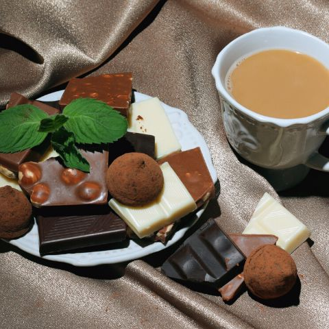 Variety of Chocolate with Tea