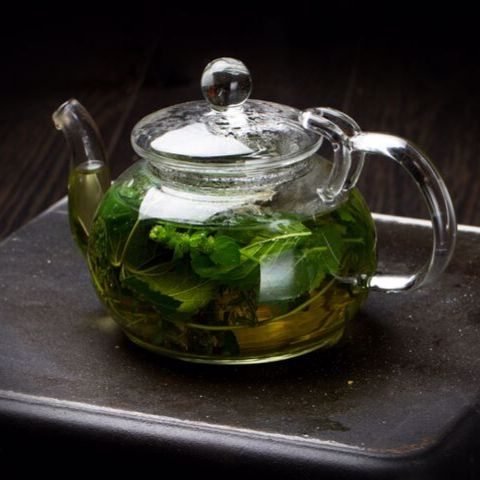Glass Teapot Brew Mint Tea