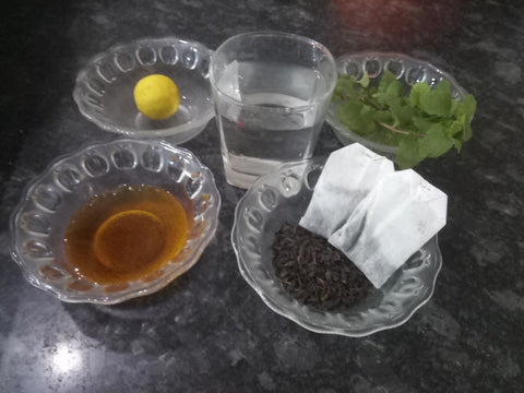 Ingredients to prepare Iced Mint Tea