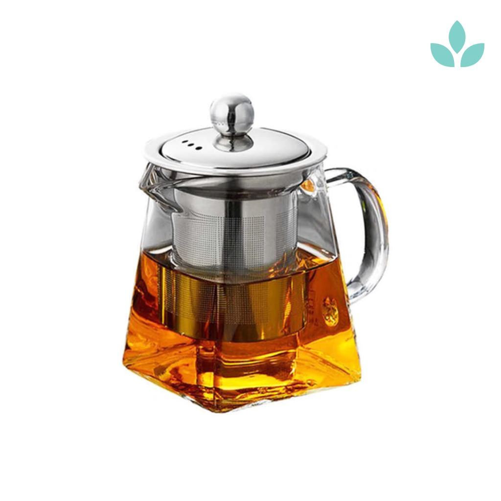 square glass teapot high temperature Resistant with infuser