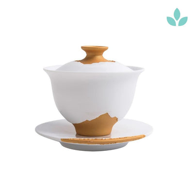 Artsy White and Gold Porcelain Gaiwan Tea Brewer and Saucer