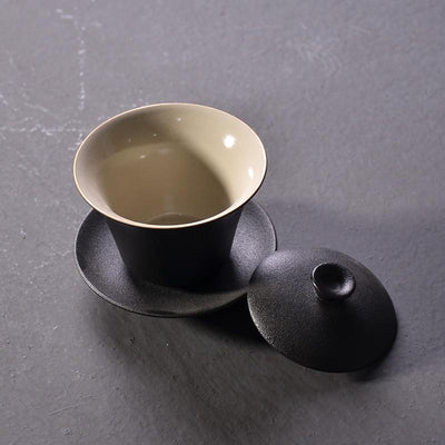 Black Crockery Pottery Gaiwan-TopicTea