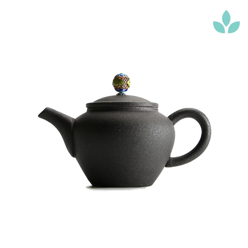 Black Ceramic Chinese Teapot With Colorful Lid