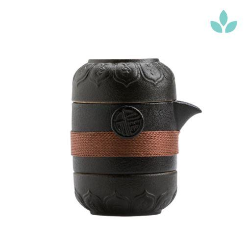 Black Travel Tea Set with 2 Cups-TopicTea