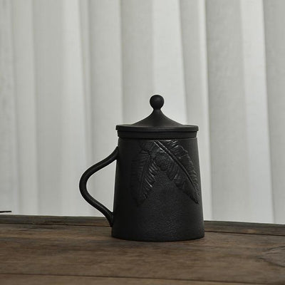 Embossed Black Ceramic Mug-Style A-TopicTea