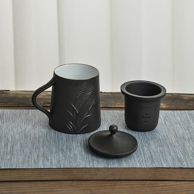 Embossed Black Ceramic Mug-TopicTea