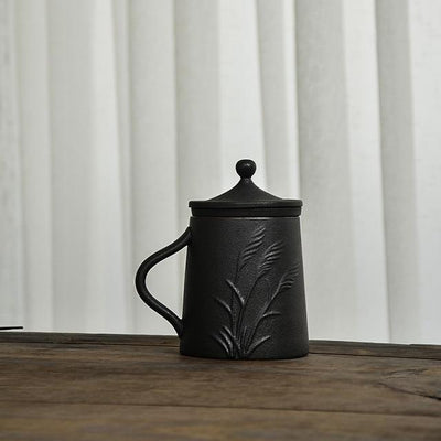 Embossed Black Ceramic Mug-Style B-TopicTea