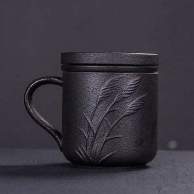 Embossed Ceramic Tea Mug With Infuser-Style B-TopicTea