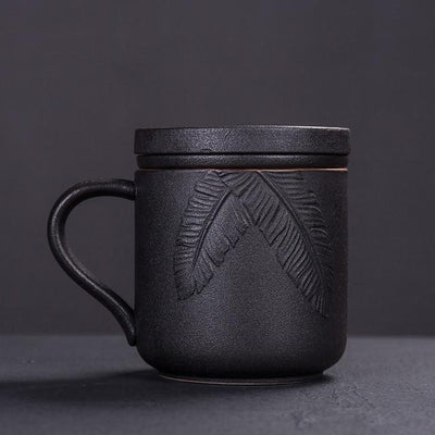 Embossed Ceramic Tea Mug With Infuser-Style A-TopicTea
