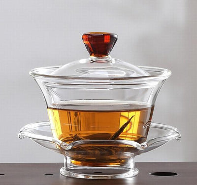 Glass Gaiwan Red Lid