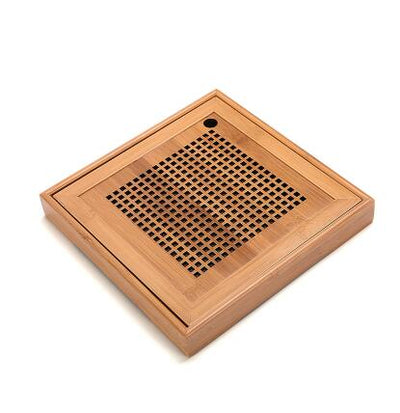 Gongfu Bamboo Tea Ceremony Tray-25x25x3.5cm-TopicTea