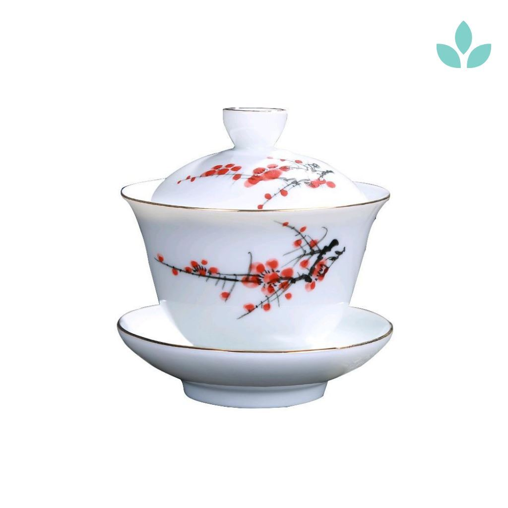 Hand-Painted Floral Porcelain Gaiwan