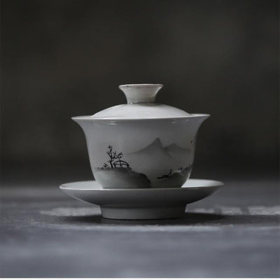 Hand-Painted Mountain Porcelain Gaiwan with Box-TopicTea
