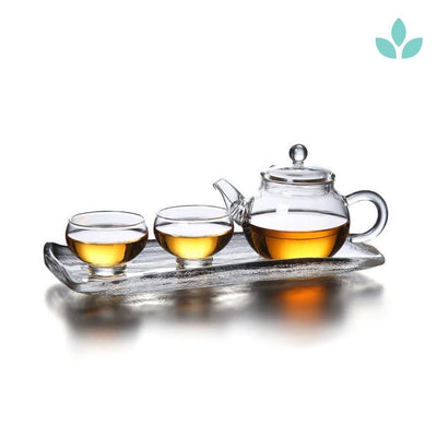 Heat Resistant Glass Tea Set with Tea Tray