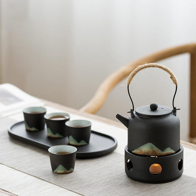 Pottery Tea Set with Warmer