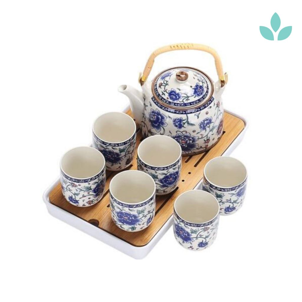 Japanese Tea Set With Bamboo Tea Tray