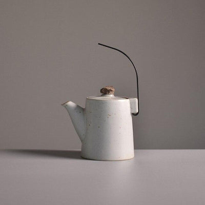 Japanese Teapot with Creative Handle-White-TopicTea