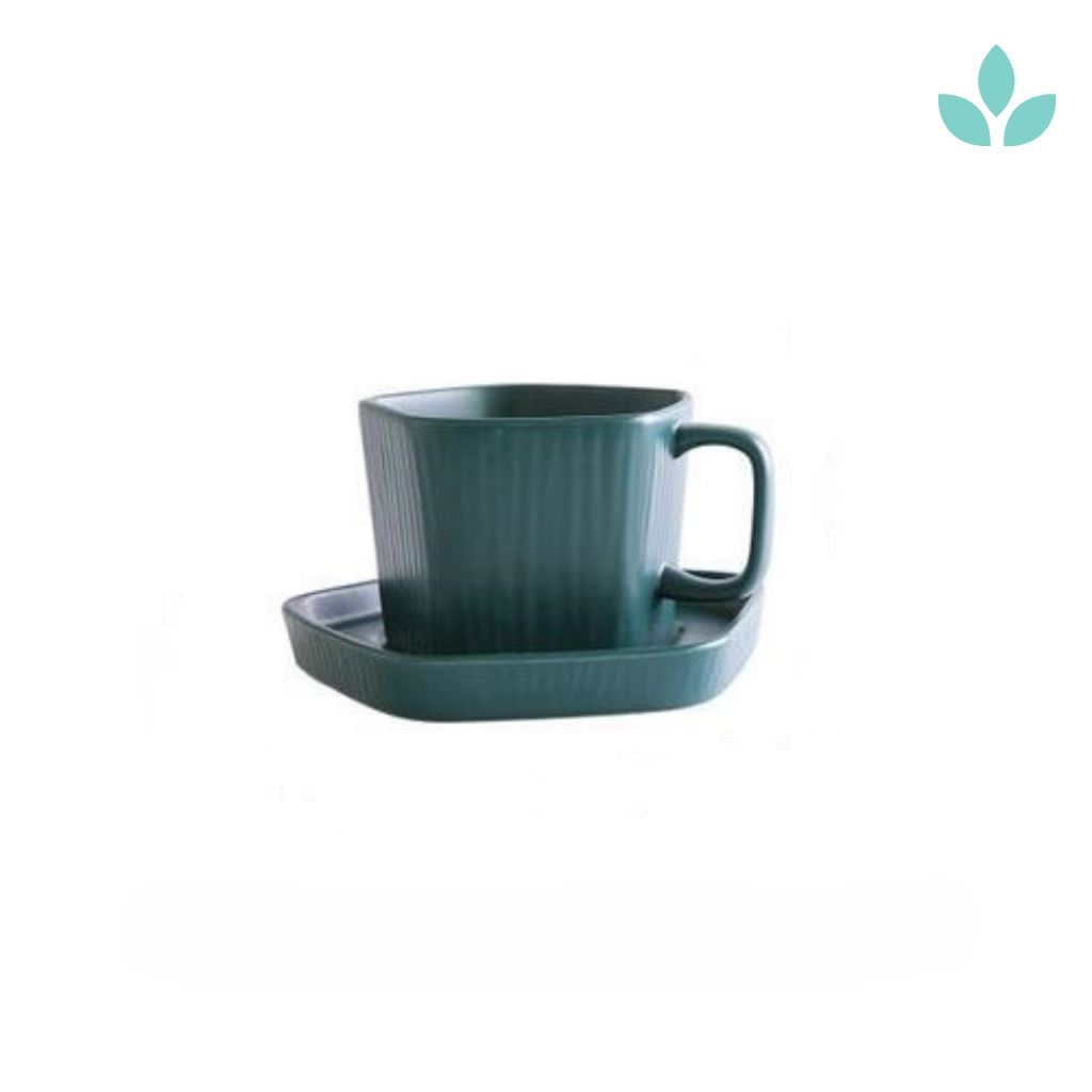 Minimalistic Textured Tea Cup and Saucer