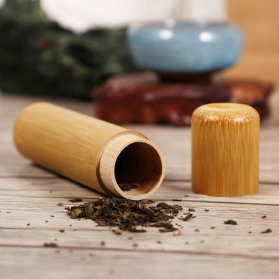 Portable round shape bamboo tea box